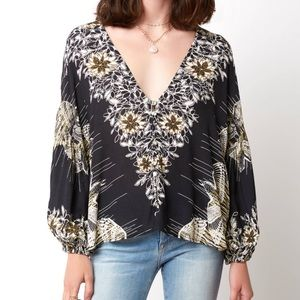 Free People Bird Print Black Button Front Blouse